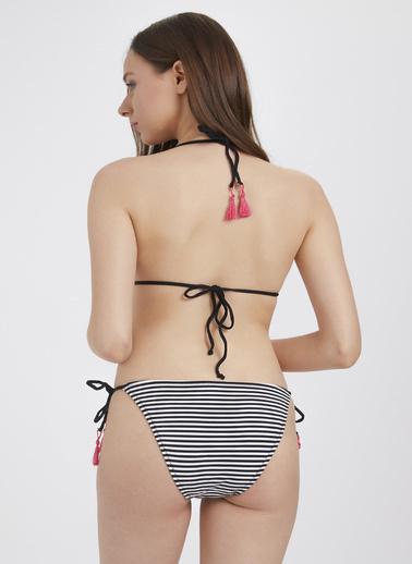 Katia & Bony Çizgili Püskül Detaylı Bikini Seti  Siyah